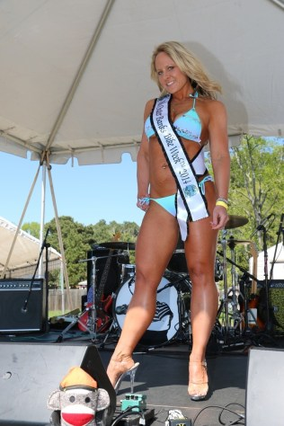 Crowd response definitely influenced the judges' decision to bestow the Miss Outer Banks Bike Week 2014 title upon Caryn Kelly of Suffolk, Virginia