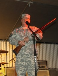 1st Sgt. Curt Prokasky receives Winnemucca's Soldier of the Year Award and a brand-new shotgun