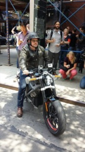 H-D Senior Vice President and Chief Marketing Officer Mark Hans Richer prepares to go for a spin on a LiveWire bike