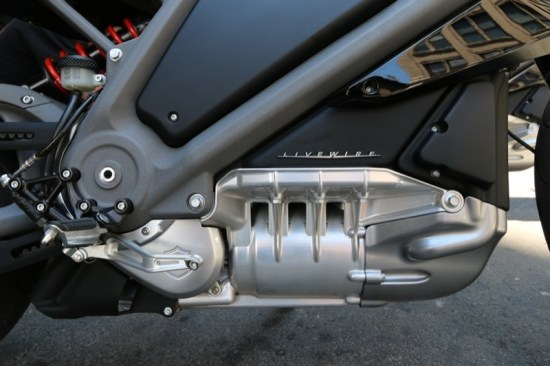 The LiveWire motor, with the batteries stacked above it, is on prominent display
