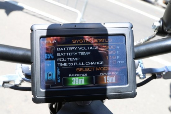 The System Status display is affixed to the handlebars, showing all pertinent data at a glance. It also doubles as a GPS.