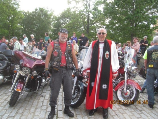 The author with Bishop Jay Magness of the Episcopal Office of Armed Services and Federal Ministries during the bike blessing