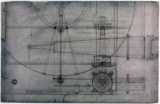 """What you see here is a portion of the """"blueprints"""" of Harrison's H3 chronometer… although neither blueprint nor chronometer were actual words when this thing was invented. That came later, along with the lightning-quick adoption of the thing you see in the lower right corner. It is the first caged roller bearing, consisting of four brass rollers and inner and outer races made of bronze."""