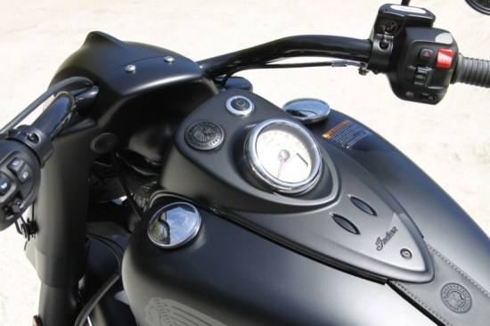 As long as the remote key fob is within 10 feet of the bike, just push the big black starter button on the dash and go