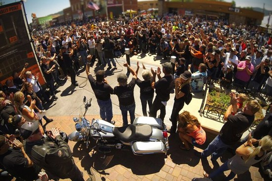 Crowds gather for the grand opening of the Harley-Davidson Rally Point. Photo courtesy of Harley-Davidson
