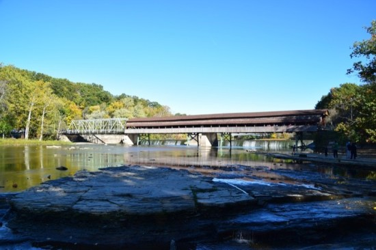 View of the Harpersfield Bridge from the river bank