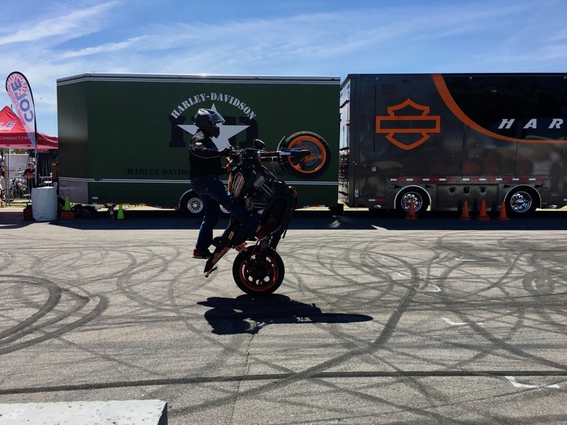 Cole Freeman of Ill Conduct all Harley Stunt Team at Daytona International Speedway