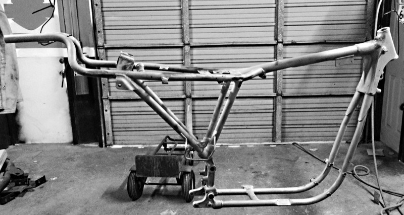 Except for the rear tubes headed out the back… Willy G's XLCR frame foreshadowed pretty closely the frame design regular Sportsters got between 1979 and 1981. Note the tubing triangulation attempts under the rider and above the swingarm pivot.