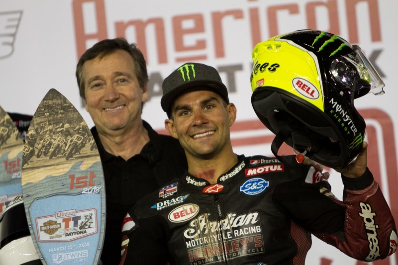 Jared Mees on top of the podium at Daytona—again!-Photo courtesy of Indian Motorcycle