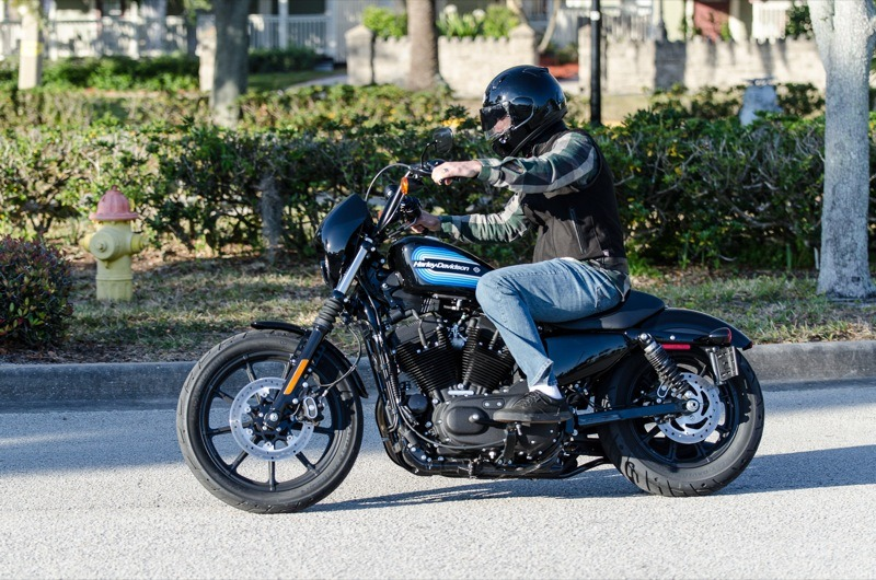 The combination of the cafe-style seat, mid-controls and mini-apes make the Iron 1200 well suited for less-experienced riders
