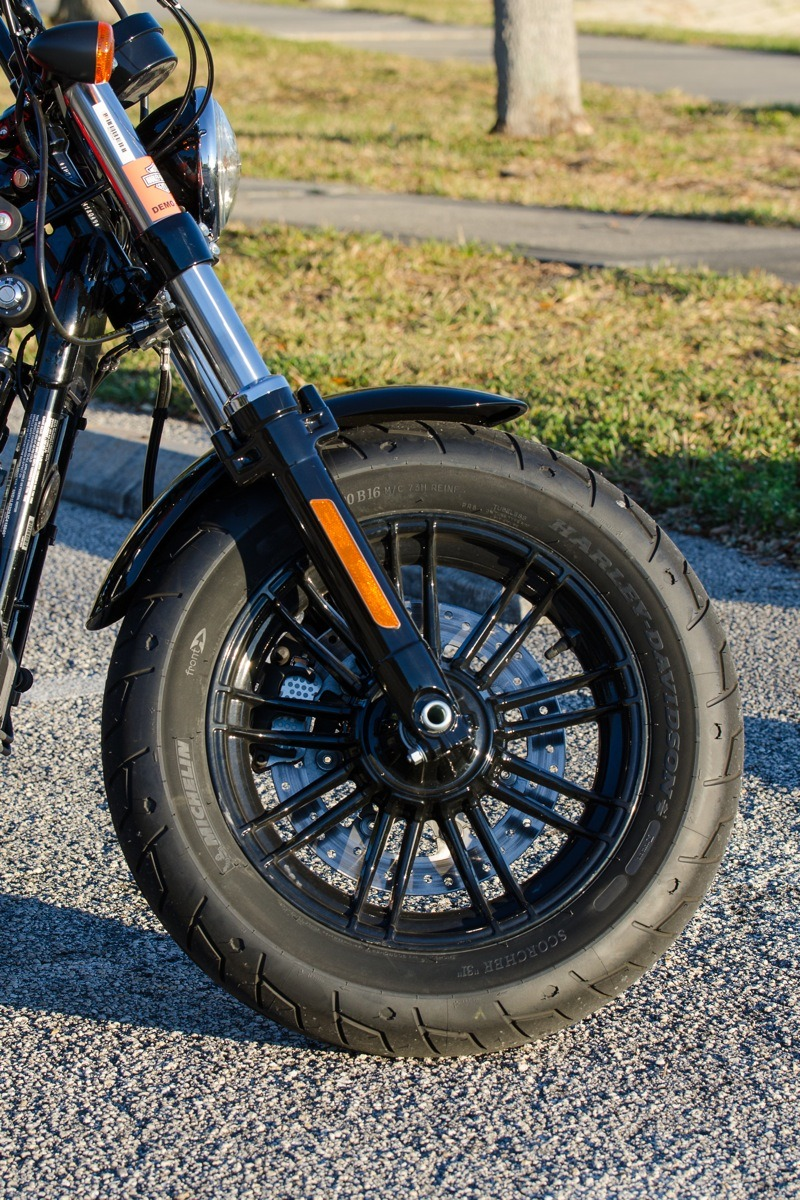 The Forty-Eight Special is a compact machine with wide, beefy front tire wrapped around a blacked-out split nine-spoke wheel