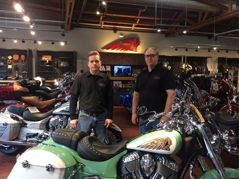 Partners in Indian Performance Solutions, Todd Gaines and Don O'Shea inside their Libertyville dealership
