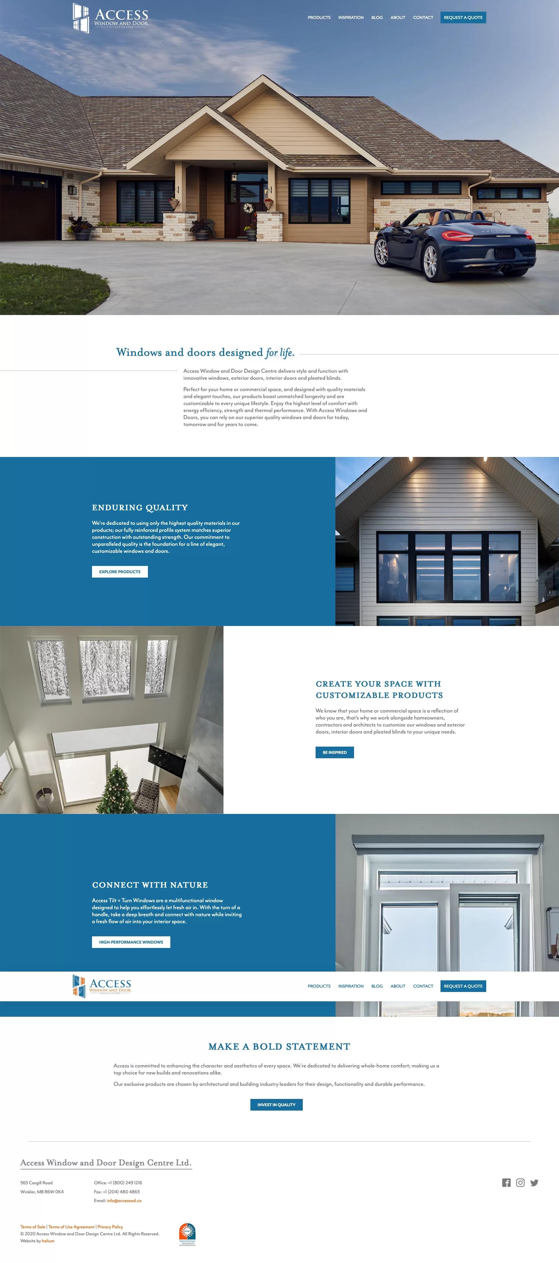 Screenshot of Access Window and Door website on desktop