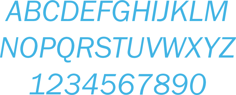 franklin gothic book italic font showing all letters and numbers