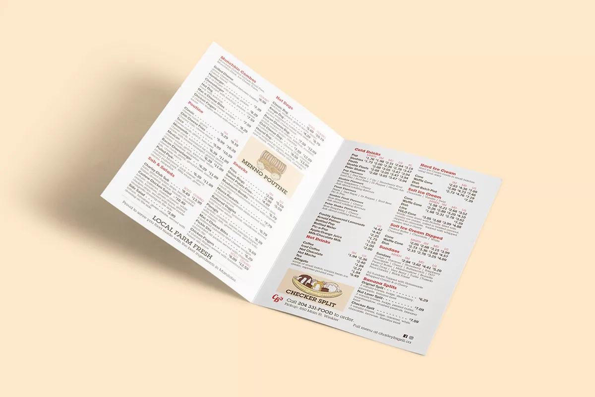 Charley Bs take out menu
