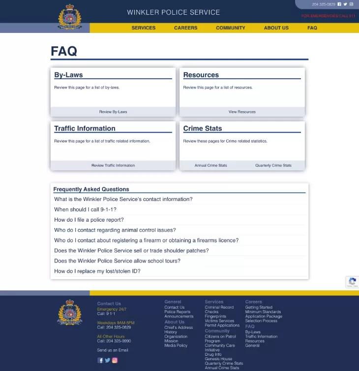 FAQ Winkler Police Service