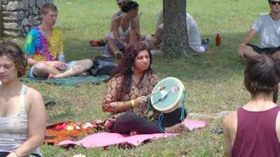Healer Priya plays a TVD Hummingbird Drum