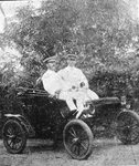 First petrol driven car 5hp Oldsmobile - GC Knapp at wheel & O. .John passenger