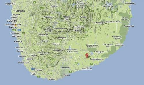 Mattala on Ceylon map