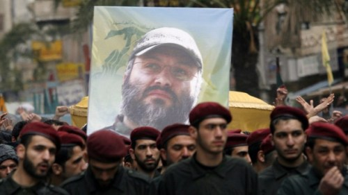 IMA 11- Hezbollah militants carry the coffin of slain commander Imad Mughniyah through the streets of Beirut in 2008