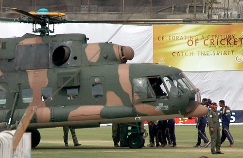 Sri Lankan cricketers board a Pakistani Air Force helicopter