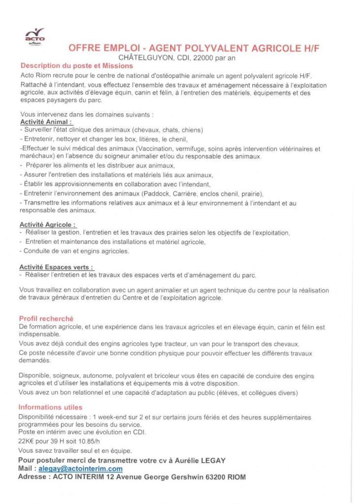 9c9afcc5adb Offre D Emploi Agent E De Developpement Economique Communautaire. Emploi  Thuret