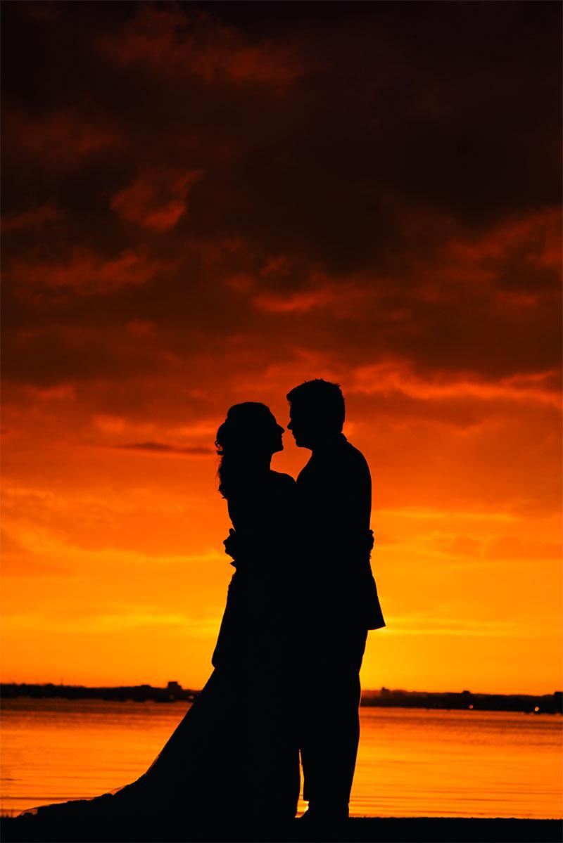 Sunset Wedding photography at Sandbanks Hotel Dorset  TP Photography