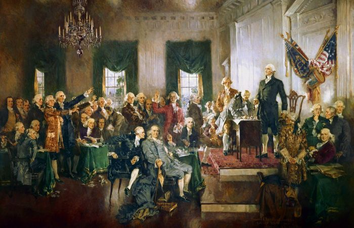 Howard Chandler Christy's Scene at the Signing of the Constitution of the United States