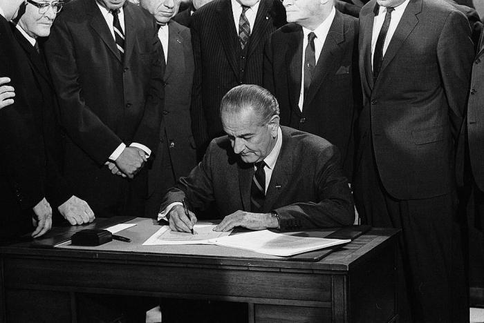 Lyndon Johnson Signing 1968 Civil Rights Bill