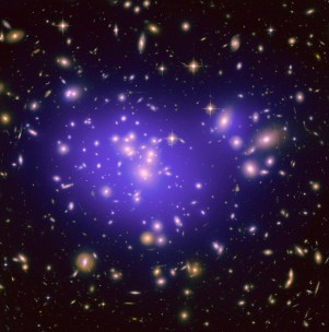 Galaxy Cluster Abell 1689 - dark matter caused those streaks