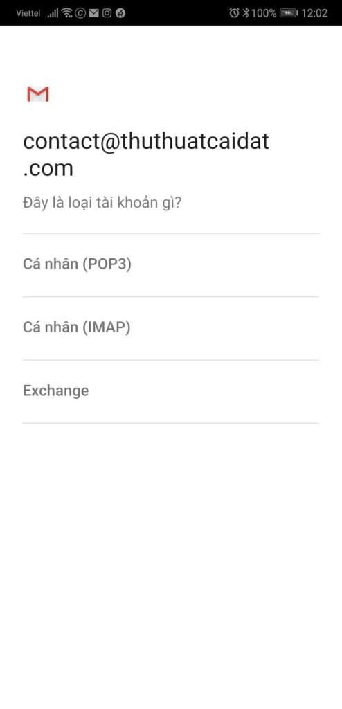Cài đặt mail@domain mới vào ứng dụng mail trên điện thoại