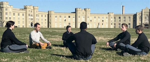PHOTO ABC News Dan Harris and meditation teacher Jeff Warren are seen here teaching cadets