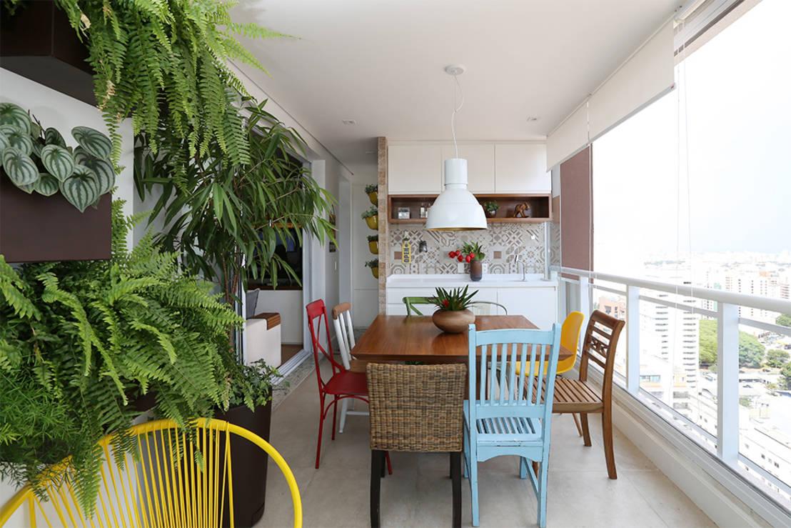linda varanda com espaço gourmet