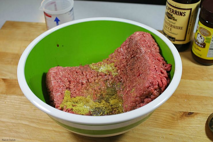 meat and seasonings in bowl - Oven BakedCopycat White Castle Burgers