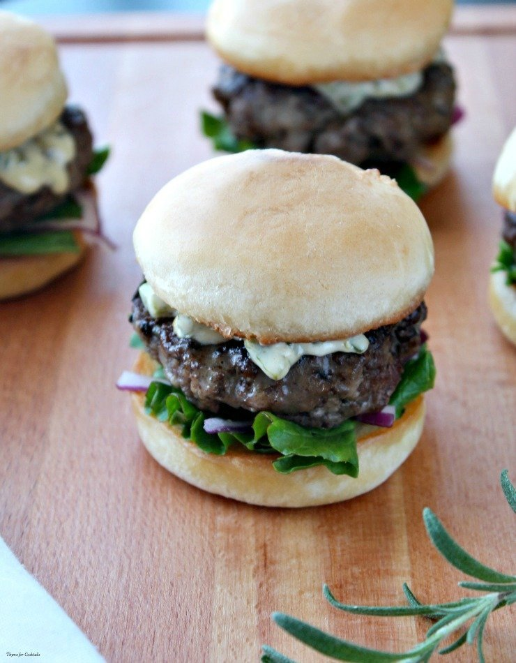 Balsamic Rosemary Sliders with Honey Jalapeño Aioli~ Thyme for Cocktails