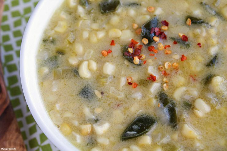 Poblano Corn Chowder~ Thyme for Cocktails