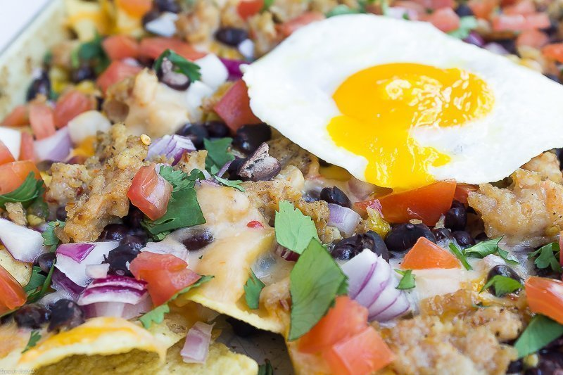 Chicken Sausage Breakfast Nachos