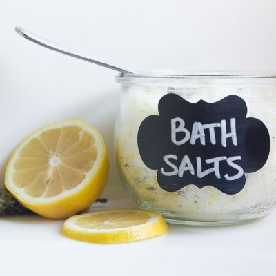 After Party Spa Night Ideas with DIY Lemon Thyme Bath Salts