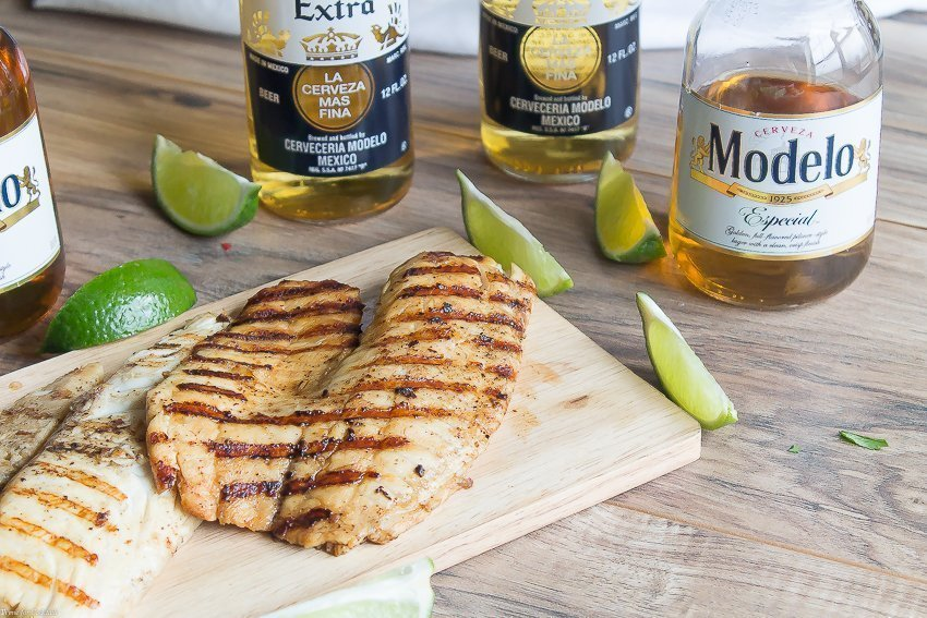 Beer Marinated Grilled Fish Tacos - Thyme for Cocktails