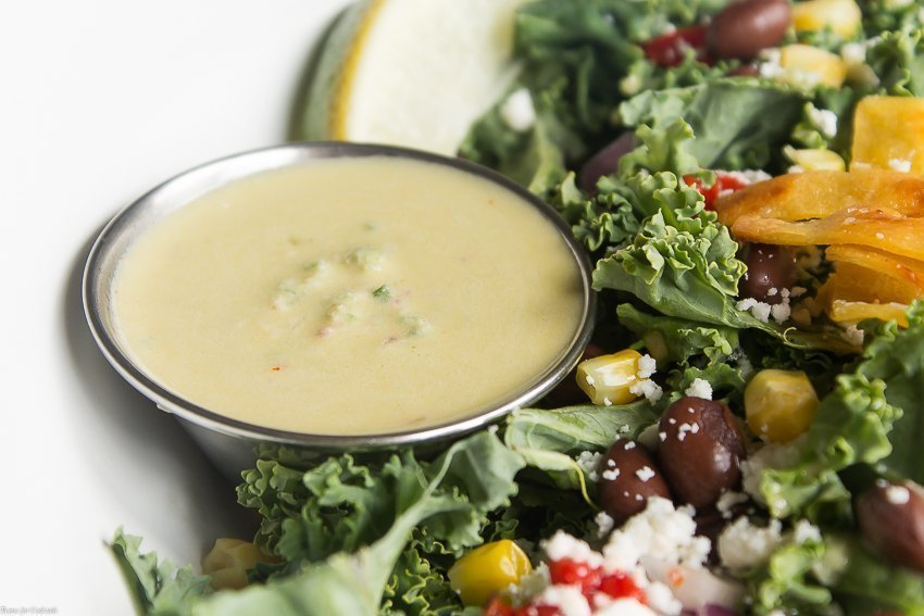 Whip up a batch of this Creamy Poblano Garlic Vinaigrette the next time you get tired of the same old salad dressing.