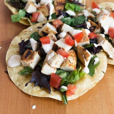 Harissa Honey Chicken Tostadas