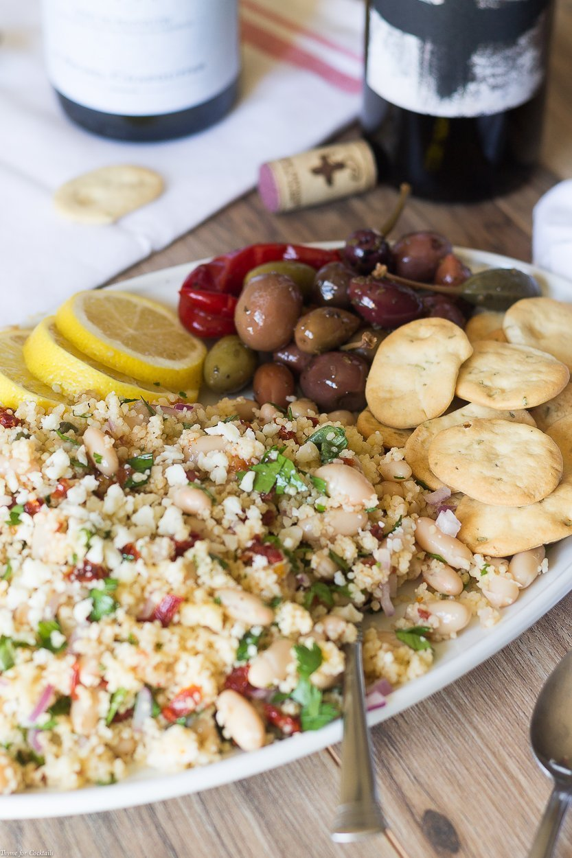 Pair a glass of your favorite Grenache wine with this is White Bean Couscous Salad recipe for a simple meal reminiscent of Mediterranean lifestyle.