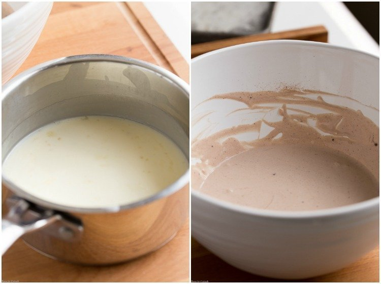 warm sweetened heavy cream and gelatin mixture in saucepan + chocolate spiced heavy cream yogurt mix for Spiced Chocolate Panna Cotta in bowl