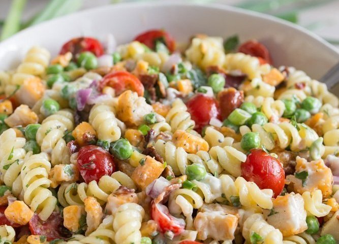 Fully Loaded Fried Chicken Pasta Salad