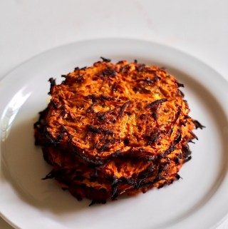 baked carrot sweet potato hash browns