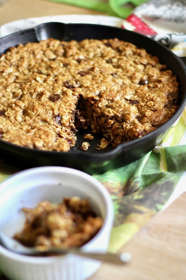 Giant Chocolate Cherry Oatmeal Skillet Cookie