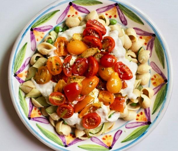 vegan chickpea pasta with garlic cashew alfredo sauce