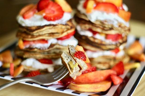 banana peach protein pancakes