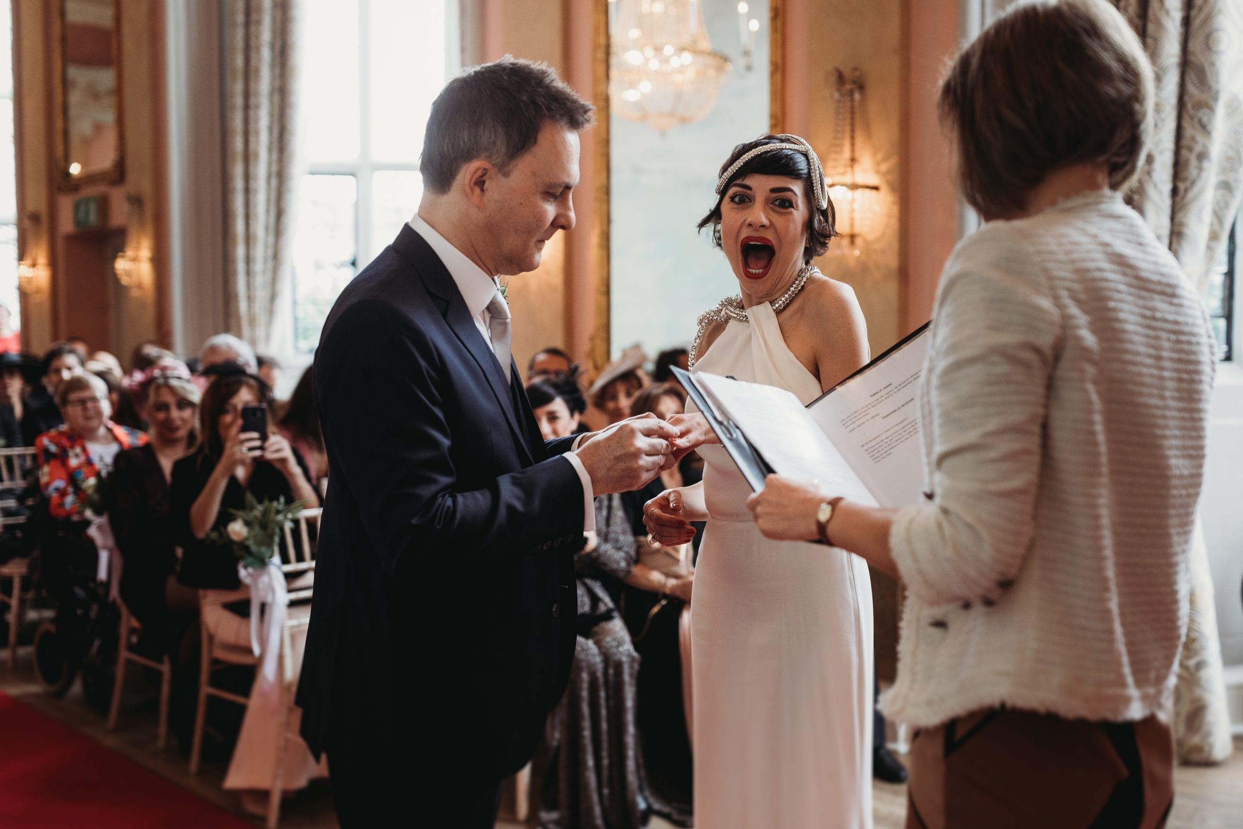 bride looking happy at ceremony