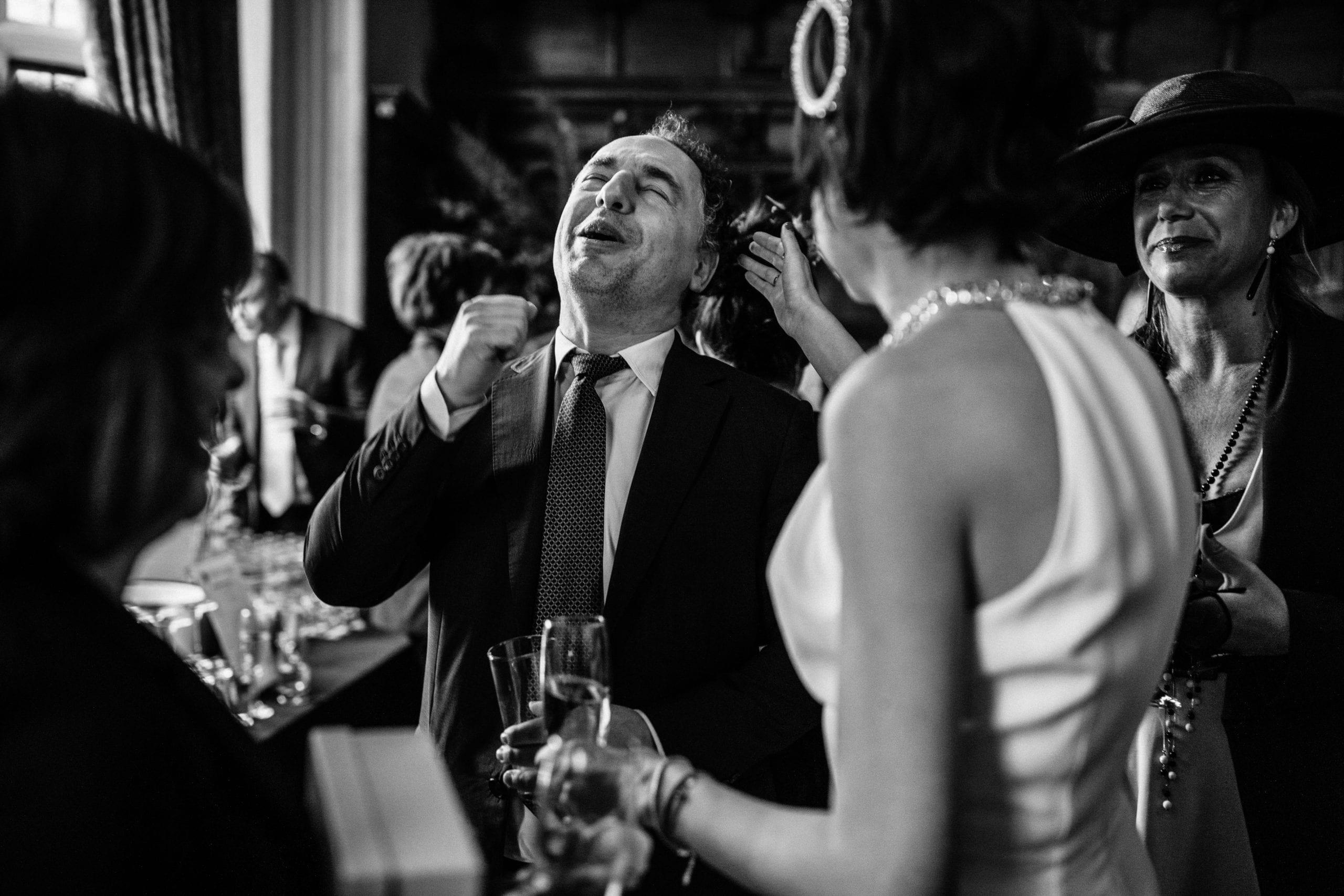 wedding guests looking happy